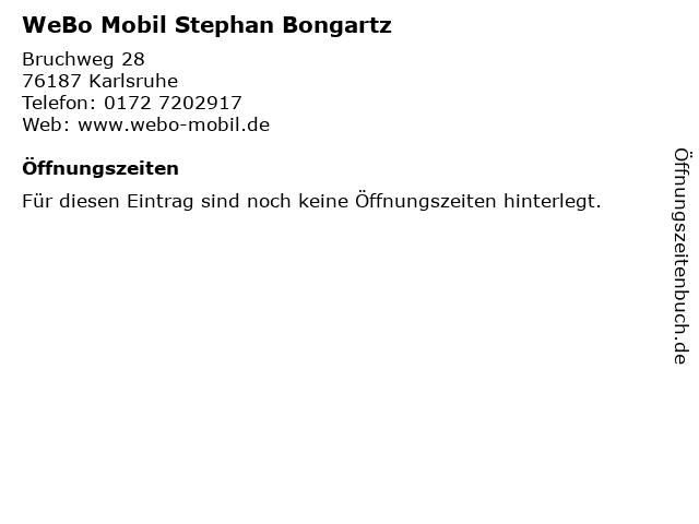 WeBo Mobil Stephan Bongartz in Karlsruhe: Adresse und Öffnungszeiten