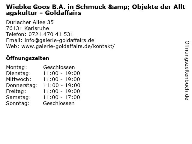 Wiebke Goos B.A. in Schmuck & Objekte der Alltagskultur - Goldaffairs in Karlsruhe: Adresse und Öffnungszeiten
