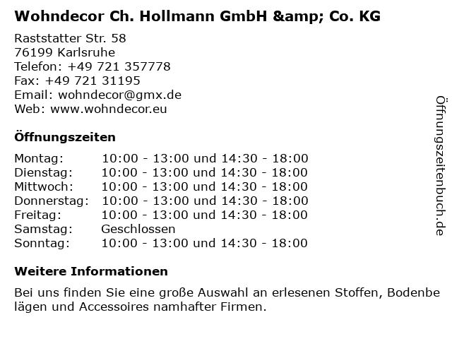 Wohndecor Ch. Hollmann GmbH & Co. KG in Karlsruhe: Adresse und Öffnungszeiten