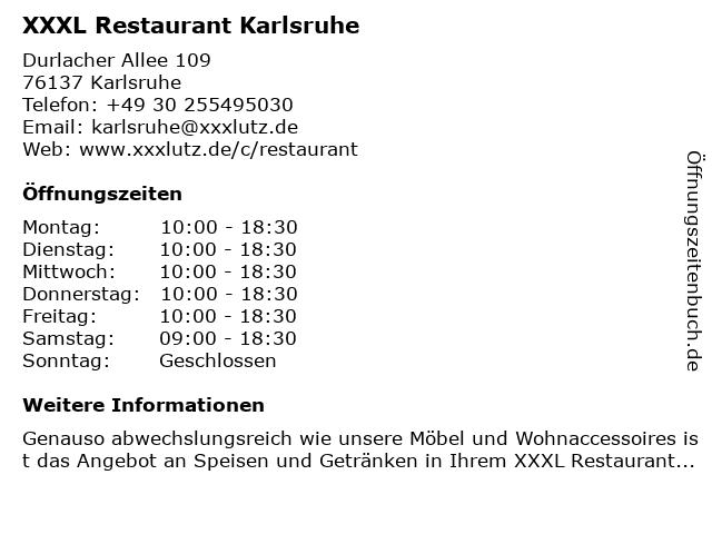 ᐅ öffnungszeiten Xxxl Restaurant Karlsruhe Durlacher Allee 109