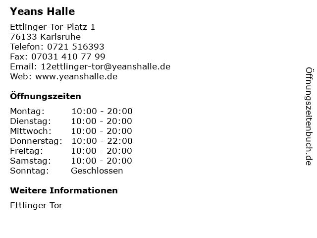 Yeans Halle in Karlsruhe: Adresse und Öffnungszeiten