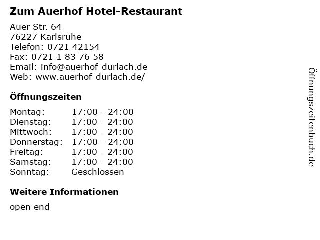 Zum Auerhof Hotel-Restaurant in Karlsruhe: Adresse und Öffnungszeiten