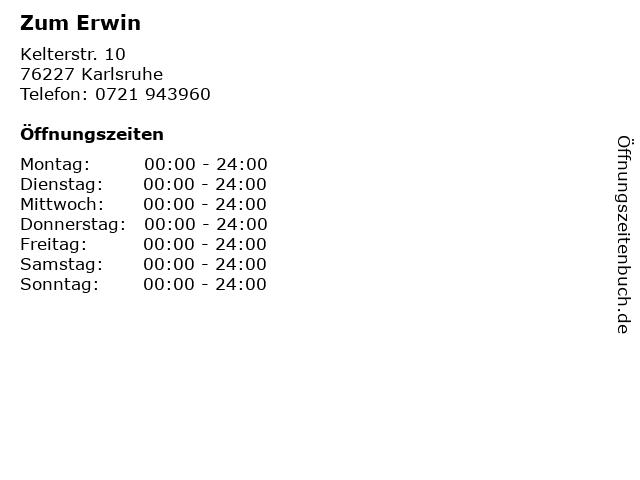 Zum Erwin in Karlsruhe: Adresse und Öffnungszeiten