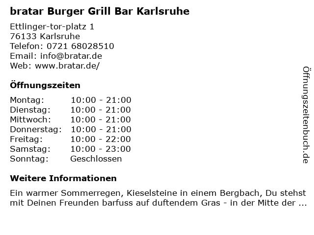 bratar Burger Restaurant & Steakhouse in Karlsruhe: Adresse und Öffnungszeiten