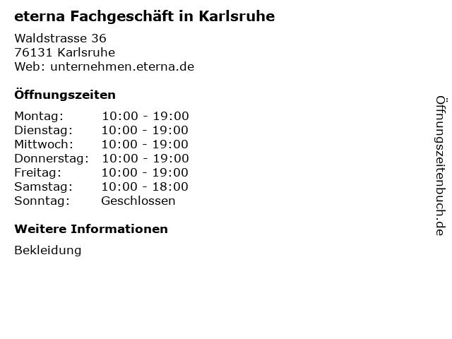 eterna Fachgeschäft in Karlsruhe in Karlsruhe: Adresse und Öffnungszeiten