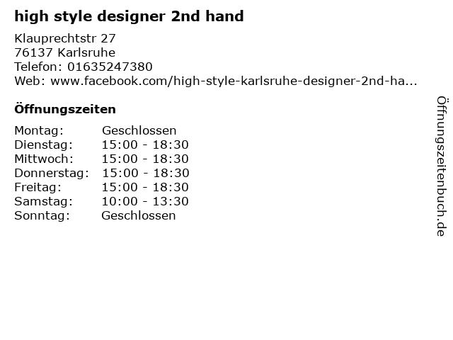 High Style Designer Second Hand in Karlsruhe: Adresse und Öffnungszeiten