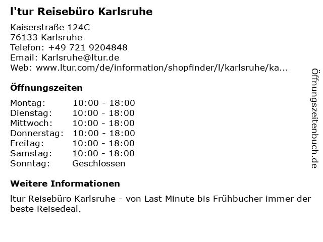 l'tur Reisebüro Karlsruhe in Karlsruhe: Adresse und Öffnungszeiten