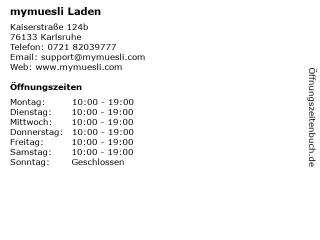 mymuesli Laden in Karlsruhe: Adresse und Öffnungszeiten