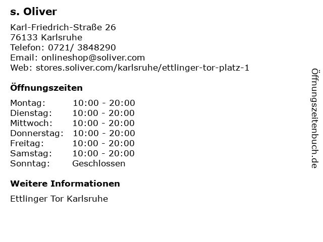 s. Oliver in Karlsruhe: Adresse und Öffnungszeiten