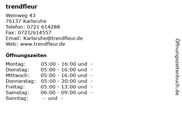 trendfleur in Karlsruhe: Adresse und Öffnungszeiten