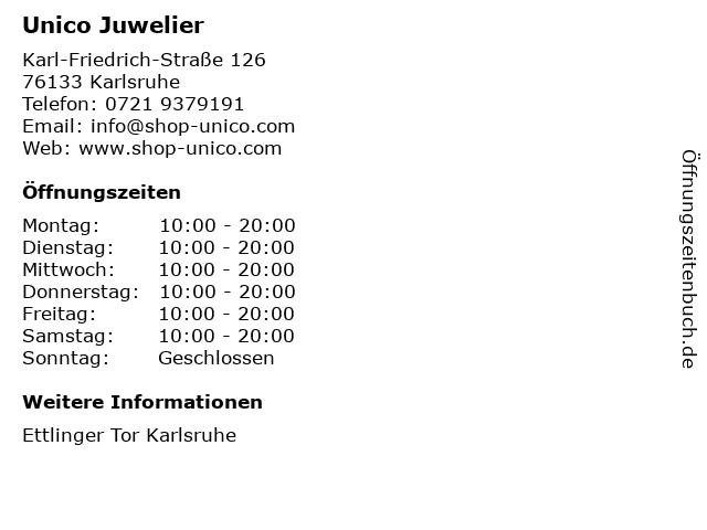 unico jewelry philosophy in Karlsruhe: Adresse und Öffnungszeiten