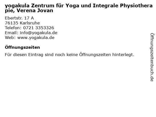 yogakula Zentrum für Yoga und Integrale Physiotherapie, Verena Jovan in Karlsruhe: Adresse und Öffnungszeiten