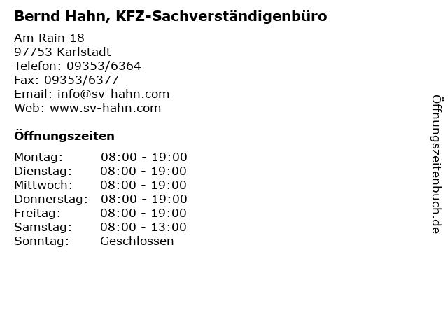 Bernd Hahn, KFZ-Sachverständigenbüro in Karlstadt: Adresse und Öffnungszeiten