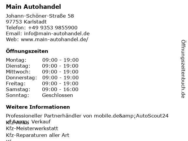 Main Autohandel in Karlstadt: Adresse und Öffnungszeiten