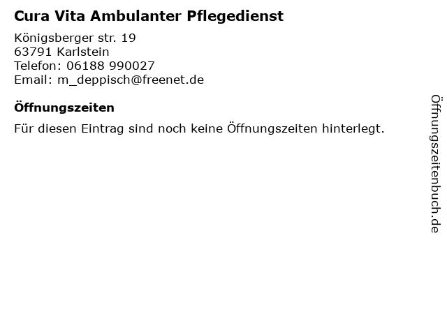 Cura Vita Ambulanter Pflegedienst in Karlstein: Adresse und Öffnungszeiten