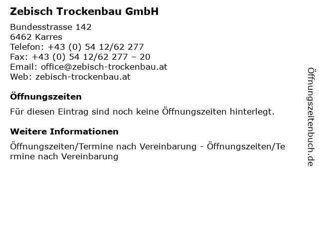 Zebisch Trockenbau GmbH in Karres: Adresse und Öffnungszeiten