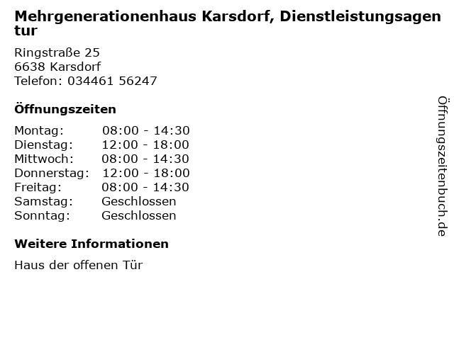 Mehrgenerationenhaus Karsdorf, Dienstleistungsagentur in Karsdorf: Adresse und Öffnungszeiten
