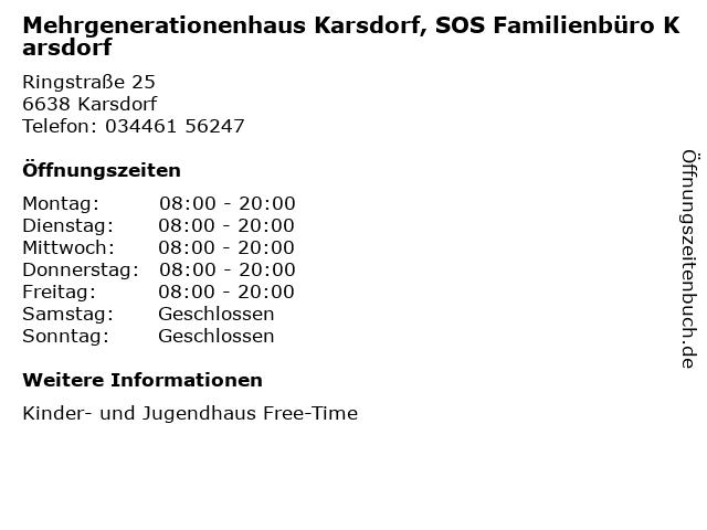 Mehrgenerationenhaus Karsdorf, SOS Familienbüro Karsdorf in Karsdorf: Adresse und Öffnungszeiten