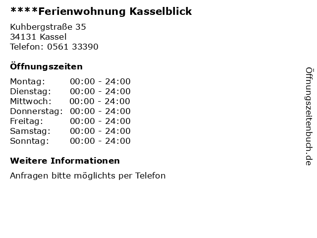 ****Ferienwohnung Kasselblick in Kassel: Adresse und Öffnungszeiten