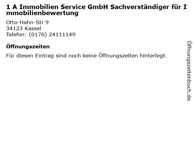 1 A Immobilien Service GmbH Sachverständiger für Immobilienbewertung in Kassel: Adresse und Öffnungszeiten