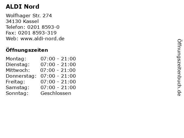 ALDI Nord in Kassel: Adresse und Öffnungszeiten