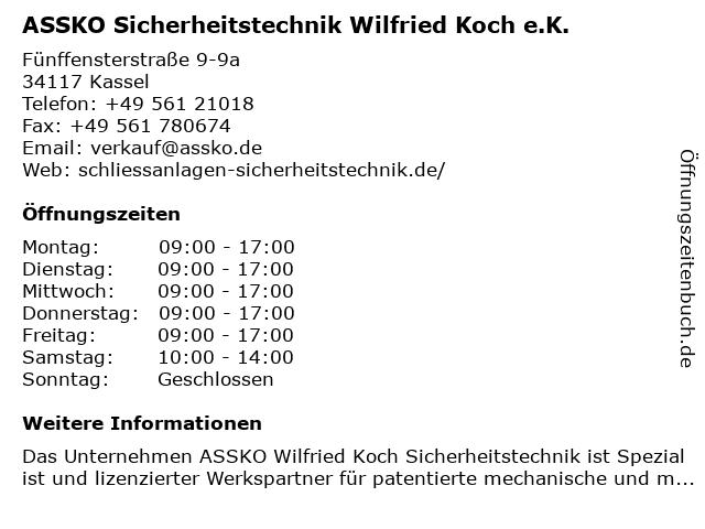 ASSKO Sicherheitstechnik u. Kasseler Schlüsseldienst - Wilfried Koch in Kassel: Adresse und Öffnungszeiten