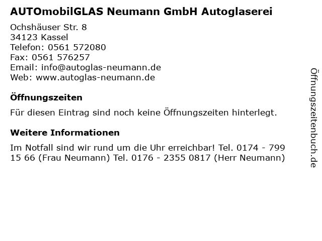 AUTOmobilGLAS Neumann GmbH Autoglaserei in Kassel: Adresse und Öffnungszeiten
