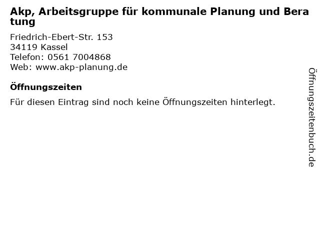 Akp, Arbeitsgruppe für kommunale Planung und Beratung in Kassel: Adresse und Öffnungszeiten