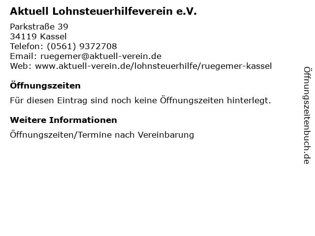 Aktuell Lohnsteuerhilfeverein e.V. in Kassel: Adresse und Öffnungszeiten