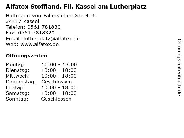 Alfatex Stoffland, Fil. Kassel am Lutherplatz in Kassel: Adresse und Öffnungszeiten