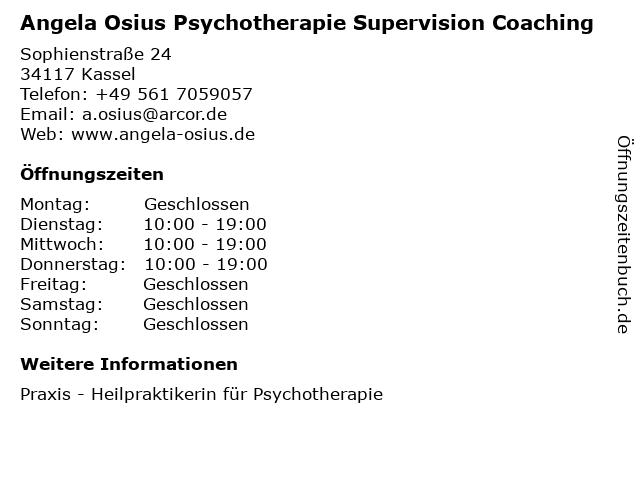 Angela Osius Psychotherapie Supervision Coaching in Kassel: Adresse und Öffnungszeiten