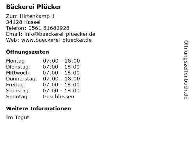 Bäckerei Plücker GmbH & Co. KG in Kassel: Adresse und Öffnungszeiten