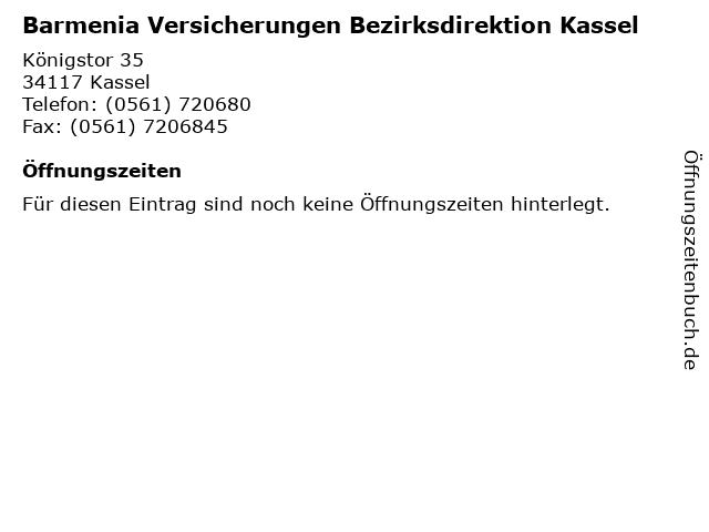Barmenia Versicherungen Bezirksdirektion Kassel in Kassel: Adresse und Öffnungszeiten