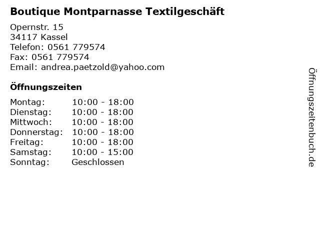 Boutique Montparnasse Textilgeschäft in Kassel: Adresse und Öffnungszeiten
