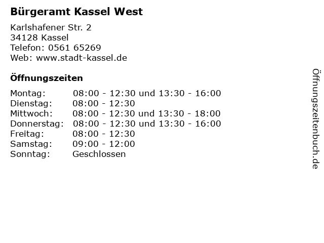 Bürgeramt Kassel West in Kassel: Adresse und Öffnungszeiten