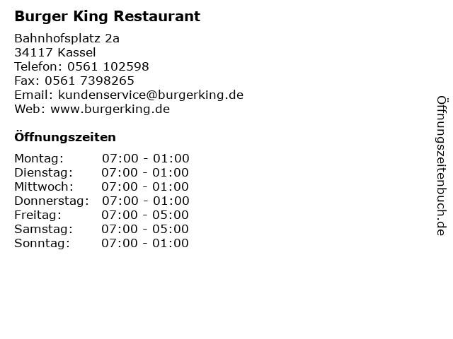 Burger King Restaurant in Kassel: Adresse und Öffnungszeiten