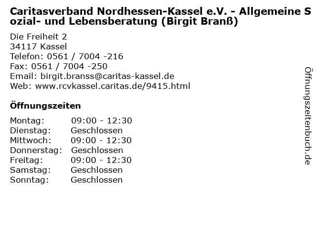 Caritasverband Nordhessen-Kassel e.V. - Allgemeine Sozial- und Lebensberatung (Birgit Branß) in Kassel: Adresse und Öffnungszeiten