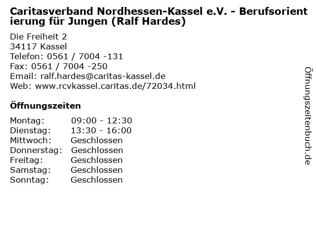 Caritasverband Nordhessen-Kassel e.V. - Berufsorientierung für Jungen (Ralf Hardes) in Kassel: Adresse und Öffnungszeiten