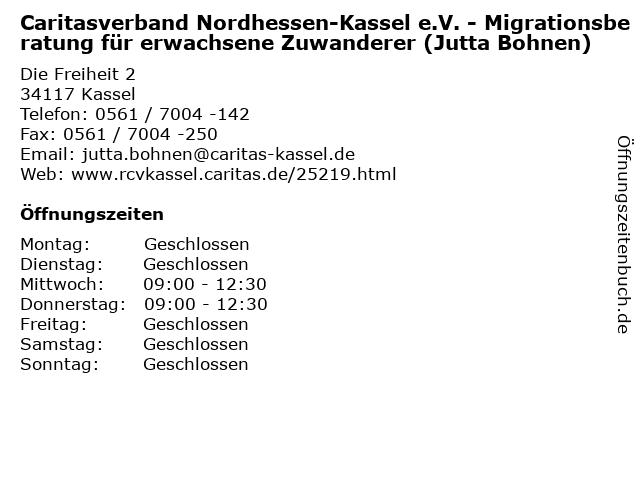 Caritasverband Nordhessen-Kassel e.V. - Migrationsberatung für erwachsene Zuwanderer (Jutta Bohnen) in Kassel: Adresse und Öffnungszeiten