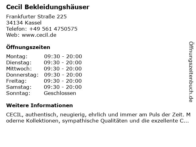 Cecil Bekleidungshäuser in Kassel: Adresse und Öffnungszeiten