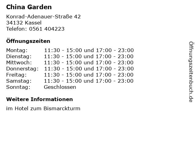 China Garden in Kassel: Adresse und Öffnungszeiten
