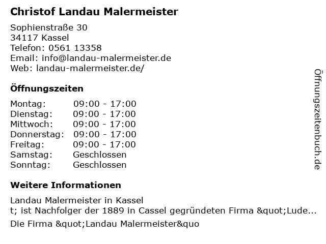 Christof Landau Malermeister in Kassel: Adresse und Öffnungszeiten