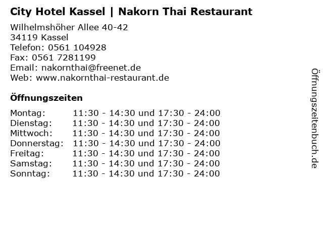 City Hotel Kassel | Nakorn Thai Restaurant in Kassel: Adresse und Öffnungszeiten