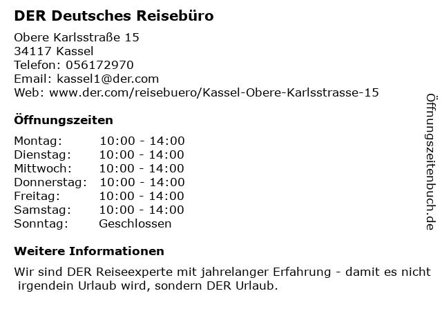 DER Deutsches Reisebüro in Kassel: Adresse und Öffnungszeiten
