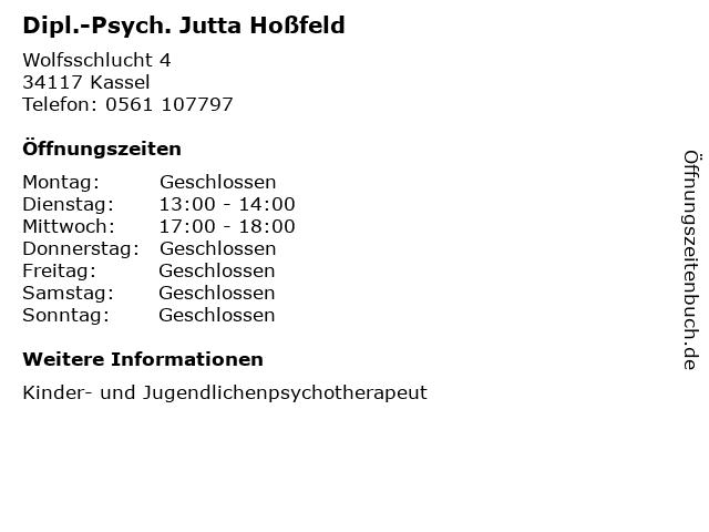 Dipl.-Psych. Jutta Hoßfeld in Kassel: Adresse und Öffnungszeiten