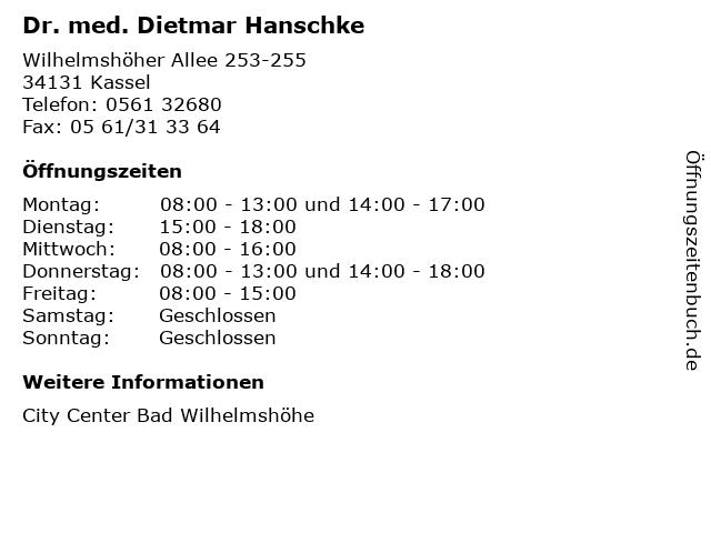 Dr. med. Dietmar Hanschke in Kassel: Adresse und Öffnungszeiten