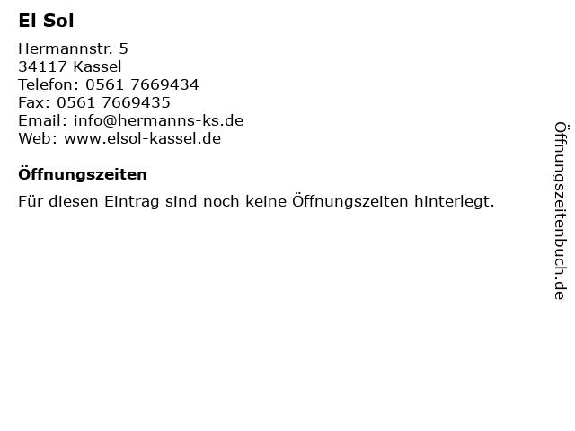El Sol in Kassel: Adresse und Öffnungszeiten