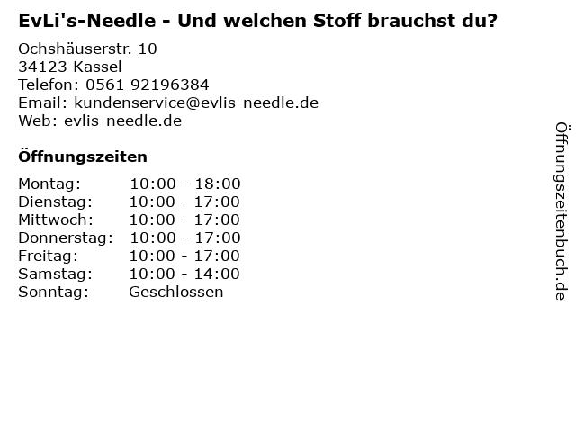 EvLi's-Needle - Und welchen Stoff brauchst du? in Kassel: Adresse und Öffnungszeiten