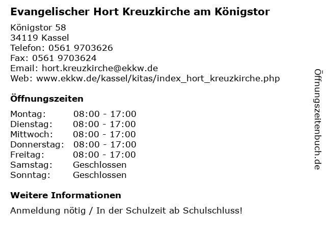 Evangelischer Hort Kreuzkirche am Königstor in Kassel: Adresse und Öffnungszeiten