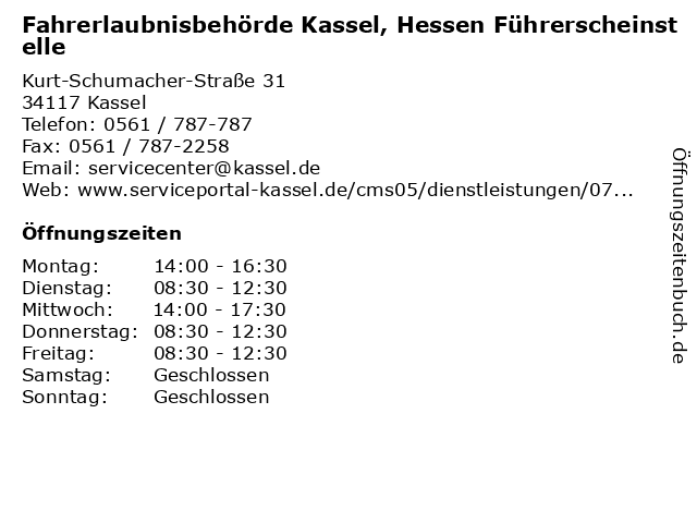 Fahrerlaubnisbehörde Kassel, Hessen Führerscheinstelle in Kassel: Adresse und Öffnungszeiten
